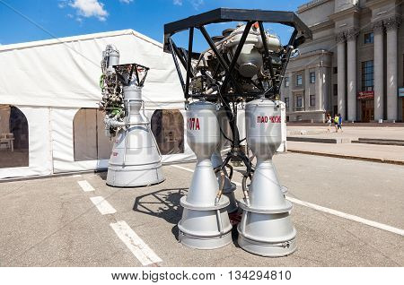 SAMARA RUSSIA - JUNE 12 2016: Space rocket engines NK-33 and RD-107A by the Corporation