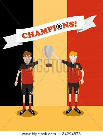 vector illustration of Belgium national soccer players holding champions winner trophy cup