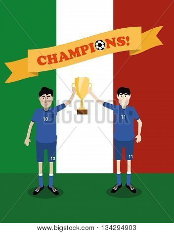 vector illustration of Italy national soccer players holding champions winner trophy cup