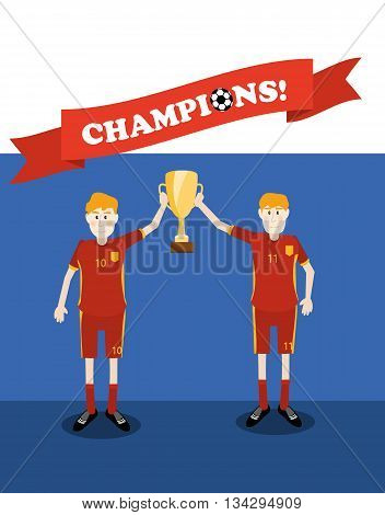 vector illustration of Russia national soccer players holding champions winner trophy cup