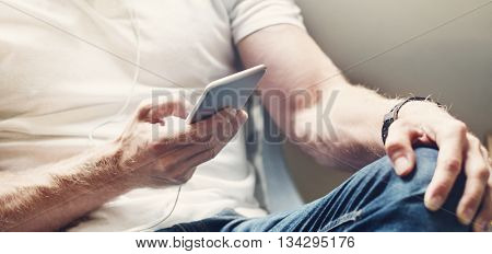 Man Sitting Chair Listening Music Concept