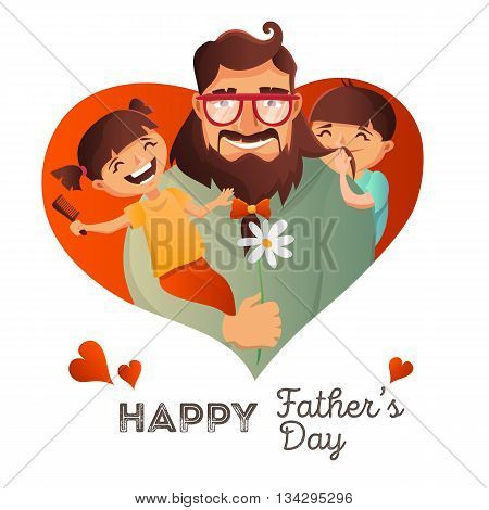 Father Day vector concept. Illustration with happy family father, daughter and son. Hipster man with his children. Family love greeting card.