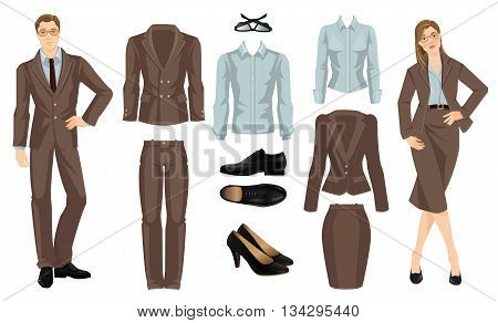 Vector illustration of corporate dress code. Office uniform. Clothes for business people. Secretary or professor in formal brown suit. Woman in glasses. Pair of black classic shoes.