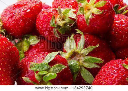 Strawberry - full frame Fresh ripe perfect strawberry - Food Frame Background