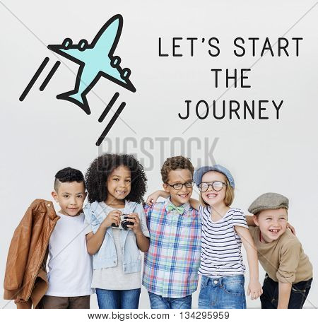 Let's start the journey text cute children Concept
