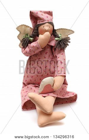 Toy - handmade yawning doll with wings