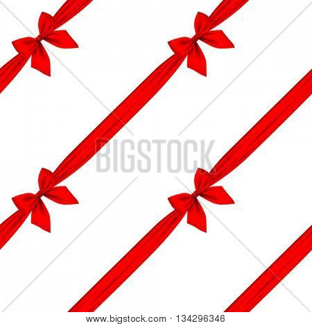 Red ribbon and bow seamless pattern background isolated on white. Vector illustration