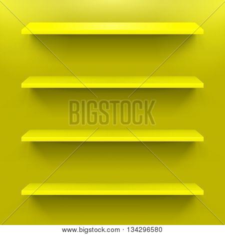 Four gorizontal yellow shelves on the yellow wall