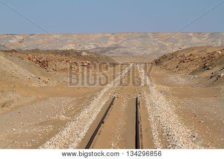 Rail route across the Sahara in Egypt