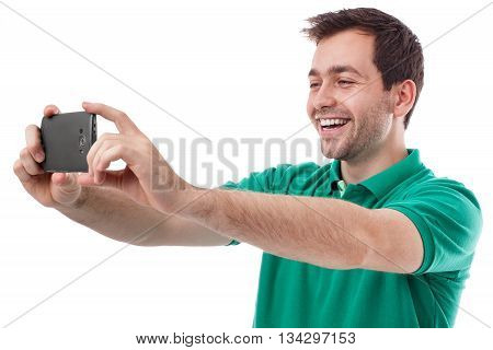 Young handsome man taking a selfie or or chat with someone
