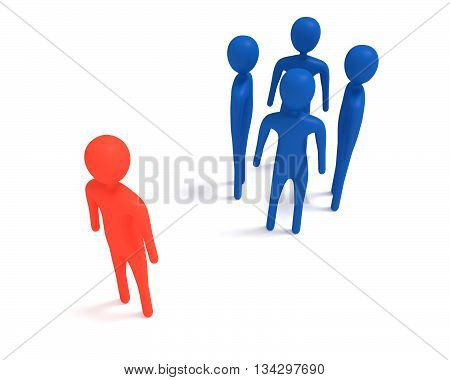 Meeting: four blue 3d men and one outsider 3d illustration
