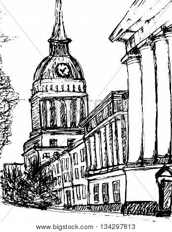 Saint Petersburg Main Admiralty building vector sketched art