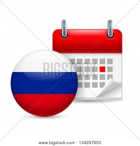 Calendar and round Russian Federation flag icon. National holiday in Russian Federation
