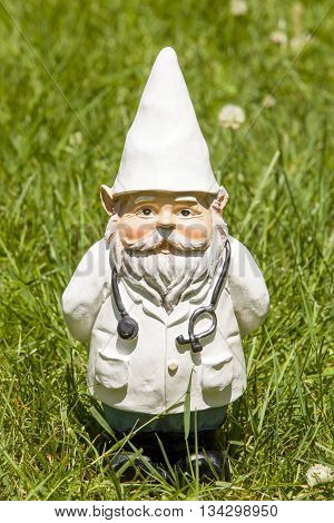 A doctor gnome standing in the grass