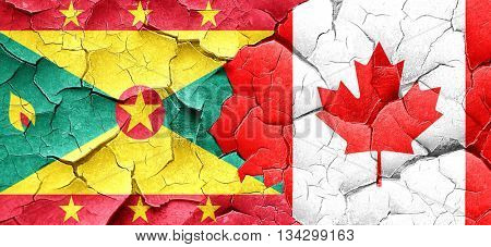Grenada flag with Canada flag on a grunge cracked wall