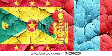 Grenada flag with Mongolia flag on a grunge cracked wall
