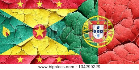 Grenada flag with Portugal flag on a grunge cracked wall