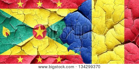 Grenada flag with Romania flag on a grunge cracked wall