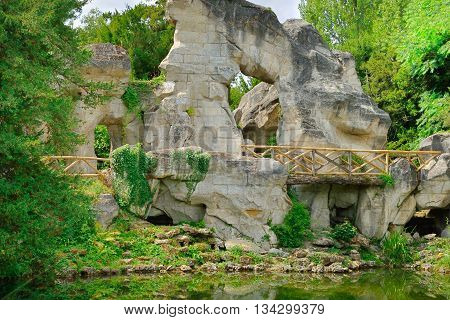 Versailles France - august 19 2015 : the rock in the Marie Antoinette estate in the parc of Versailles Palace