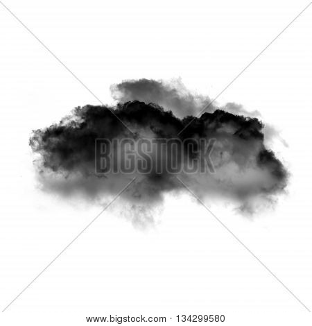Single black cloud of smoke isolated over white background. Ink spot or cigarette smoke cloud Rorschach test