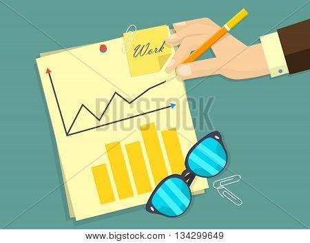 Business man document signing up contract agreement, Businessman workplace top angle above view sitting at office desk work vector illustration. Eps 10