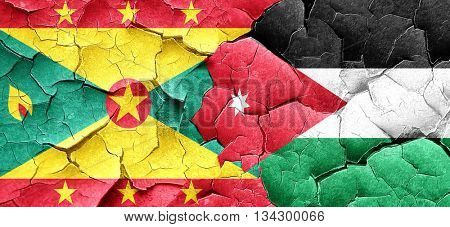 Grenada flag with Jordan flag on a grunge cracked wall