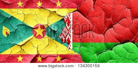 Grenada flag with Belarus flag on a grunge cracked wall