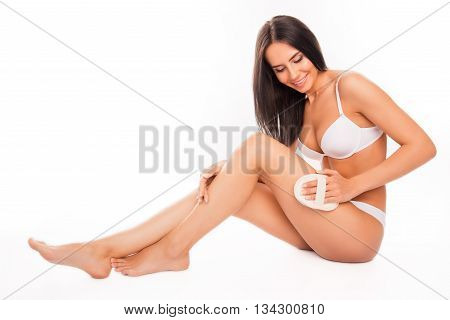 Beautiful Smiling Young Woman Making A Scrub Massage