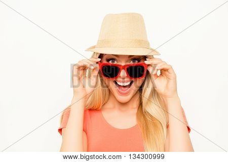 Portrait Of Happy Cheerful Woman In Summer Hat And Spectacles