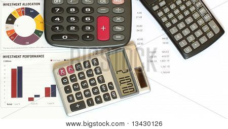 Calculators And Financial Figures And Graphs