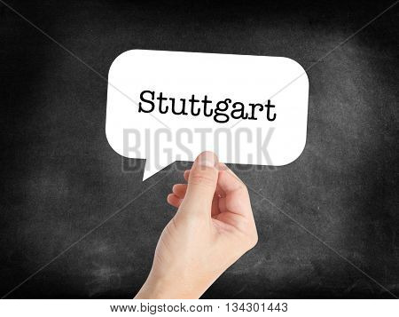 Stuttgart written on a speechbubble