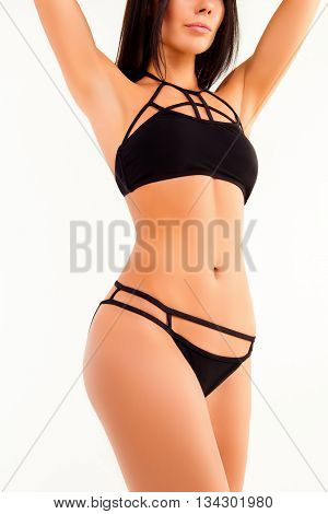 Portrait Of Sensitive Healthy Slender Girl In Black Panties And Bra