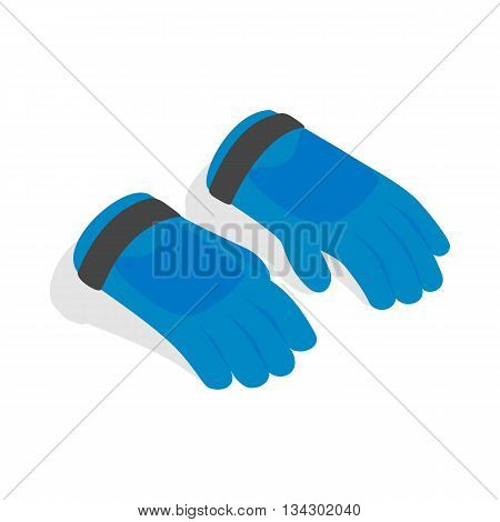 Blue winter ski gloves icon in isometric 3d style on a white background