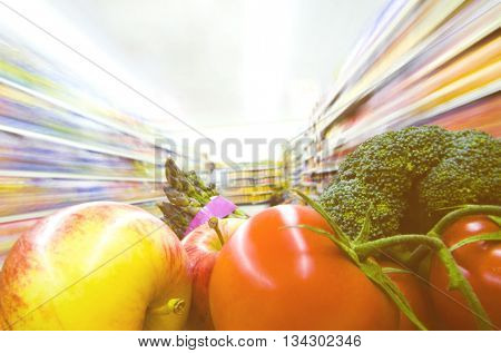 Fresh fruits and vegetables in a supermarket.