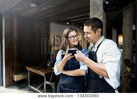 Barista Partner Working Coffee Shop Concept