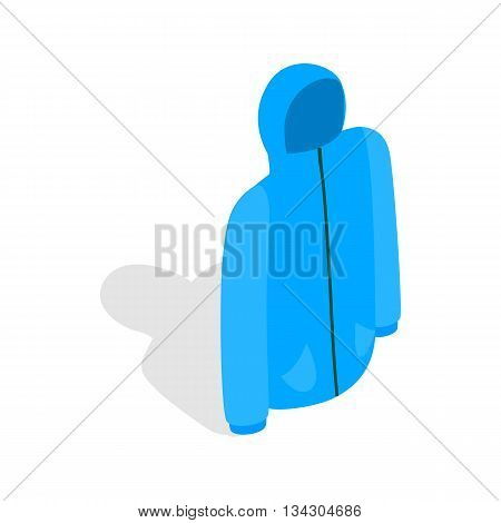 Blue ski jacket icon in isometric 3d style on a white background