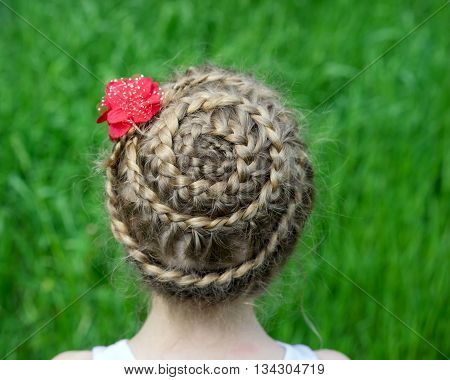 Hairstyle With Braids On A Young Girl