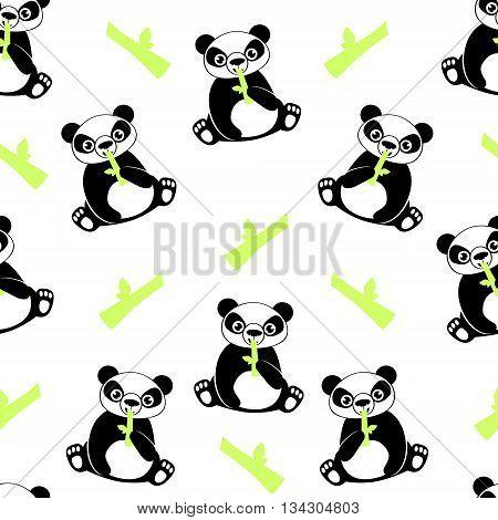White background panda. Seamless pattern bear. Vector illustration