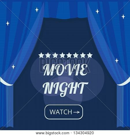 Vector movie night background with cinema Curtains and projector lights. Movie background with text place. Can used for banner poster web page background