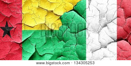 Guinea bissau flag with Italy flag on a grunge cracked wall