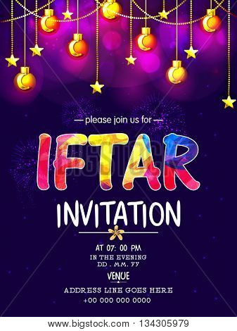 Creative Invitation Card design with colourful text Iftar on glossy hanging balls decorated background for Islamic Holy Month of Fasting, Ramadan Kareem, Iftar Party celebration.