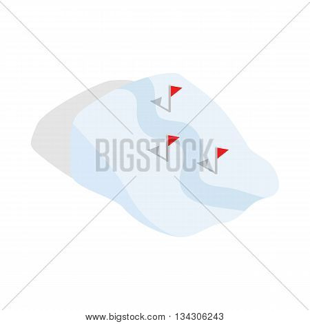 Ski route icon in isometric 3d style on a white background