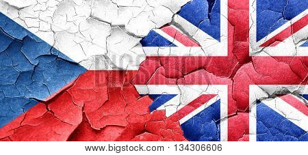 czechoslovakia flag with Great Britain flag on a grunge cracked