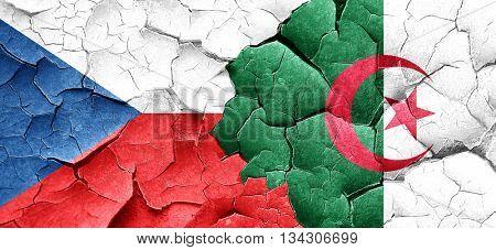 czechoslovakia flag with Algeria flag on a grunge cracked wall