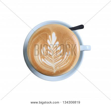 Cup Of Latte Art Coffee With Foam Isolated On White
