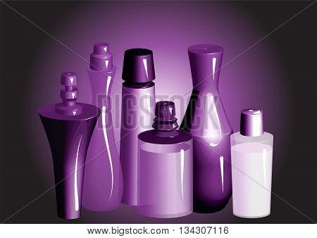 perfume. Perfume bottles shampoo or deodorant spray oil.