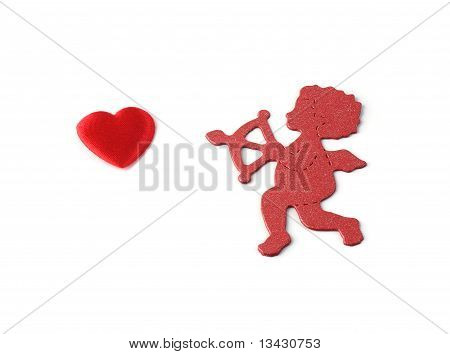 Cupid And Small Red Heart