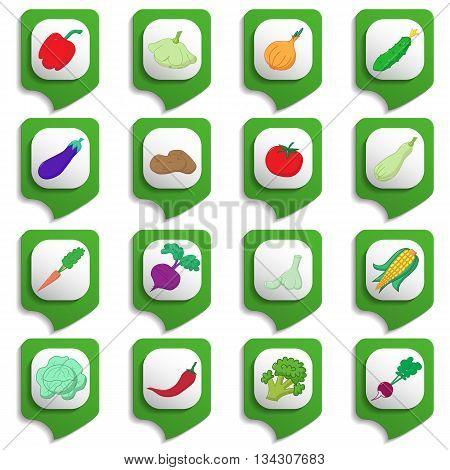 Raw Vegetables Icon Set