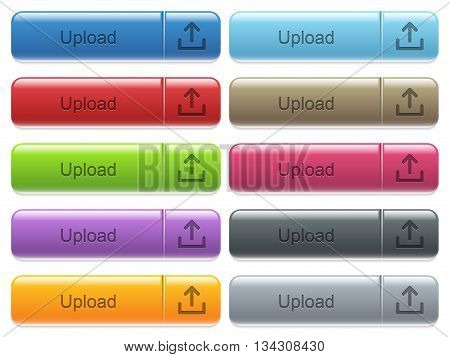 Set of upload glossy color captioned menu buttons with engraved icons