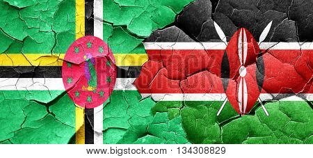 Dominica flag with Kenya flag on a grunge cracked wall